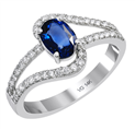 14K white gold contemporary and classic diamond fashion 7x5 mm sapphire ring